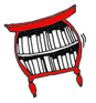 cartoon red bookshelf with red border