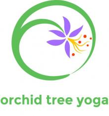 Orchid Tree Logo drawing of circle with purple orchid